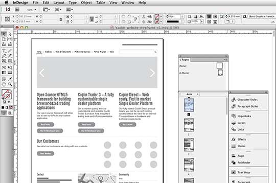 InDesign for Wireframing